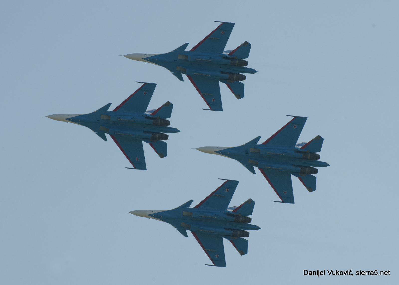 Group flight display of Russian Knights which this MAKS for the first time appeared on Su-30SM