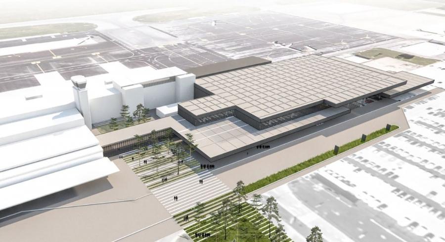Stekla dela za razširitev potniškega terminala