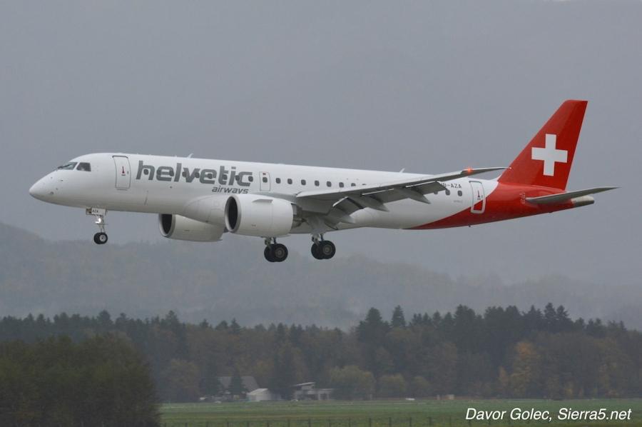 V Sloveniji prvič pristal novi Embraer E190-E2