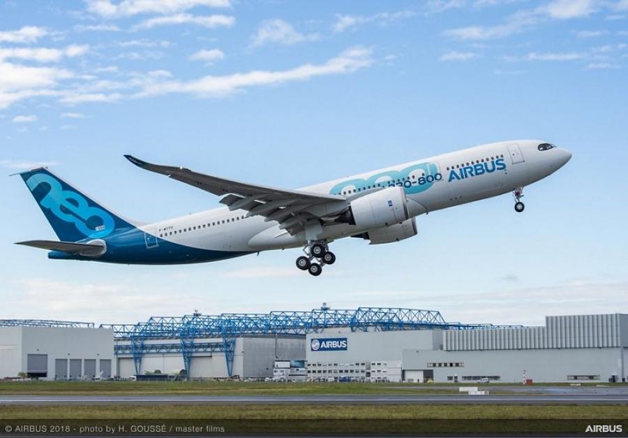 Poletelo novo Airbusovo širokotrupno letalo